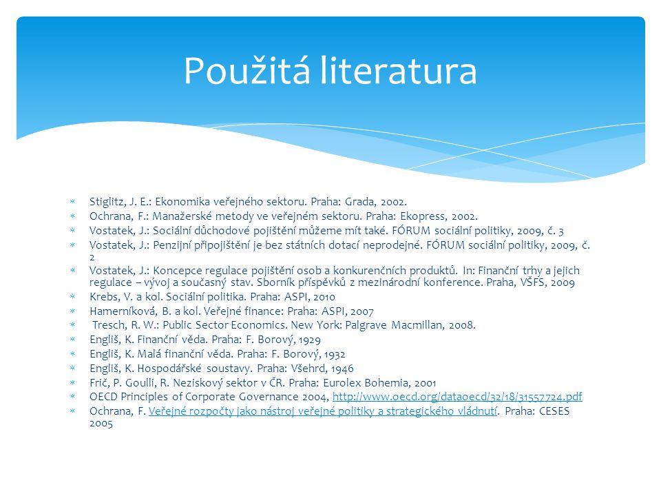  Stiglitz, J. E.: Ekonomika veřejného sektoru. Praha: Grada, 2002.  Ochrana, F.: Manažerské metody ve veřejném sektoru. Praha: Ekopress, 2002.  Vos
