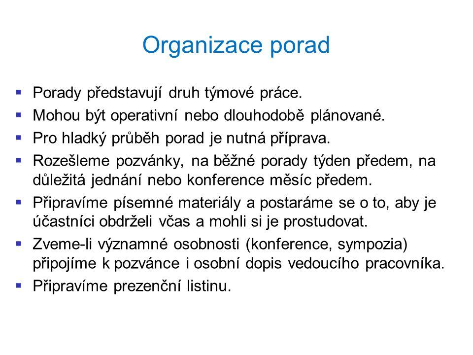 Organizace porad   Porady představují druh týmové práce.   Mohou být operativní nebo dlouhodobě plánované.   Pro hladký průběh porad je nutná př