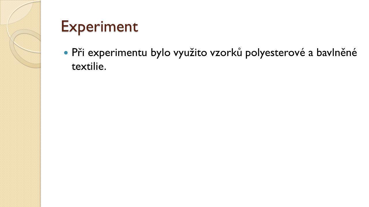 Experiment Při experimentu bylo využito vzorků polyesterové a bavlněné textilie.