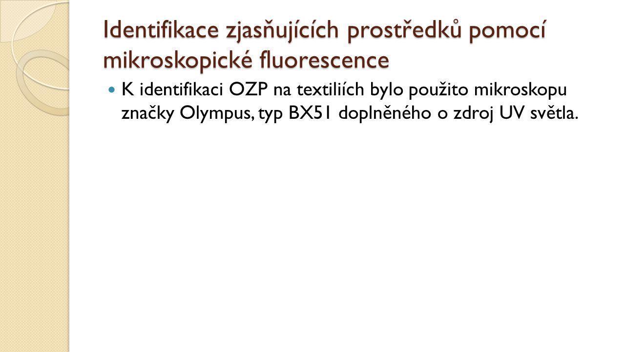 Identifikace zjasňujících prostředků pomocí mikroskopické fluorescence K identifikaci OZP na textiliích bylo použito mikroskopu značky Olympus, typ BX51 doplněného o zdroj UV světla.