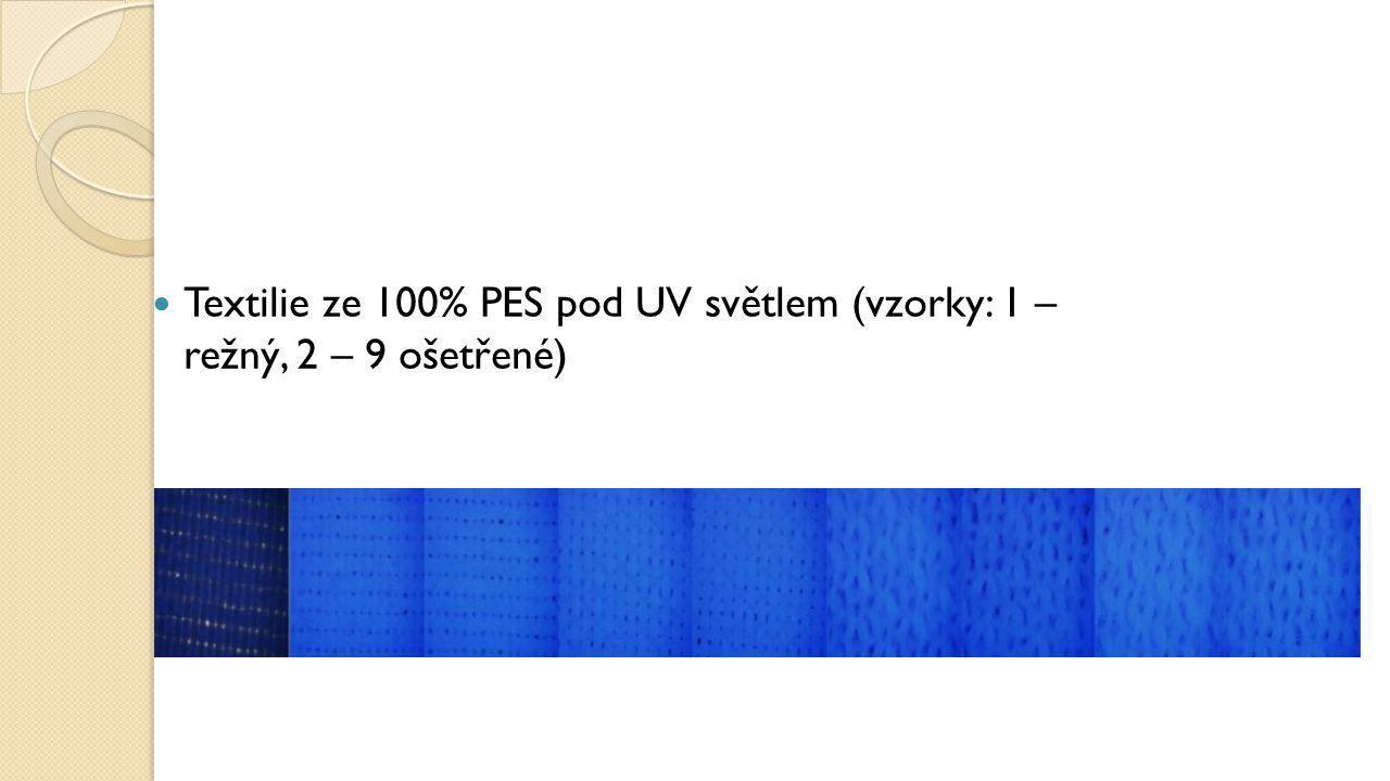 Textilie ze 100% PES pod UV světlem (vzorky: 1 – režný, 2 – 9 ošetřené)