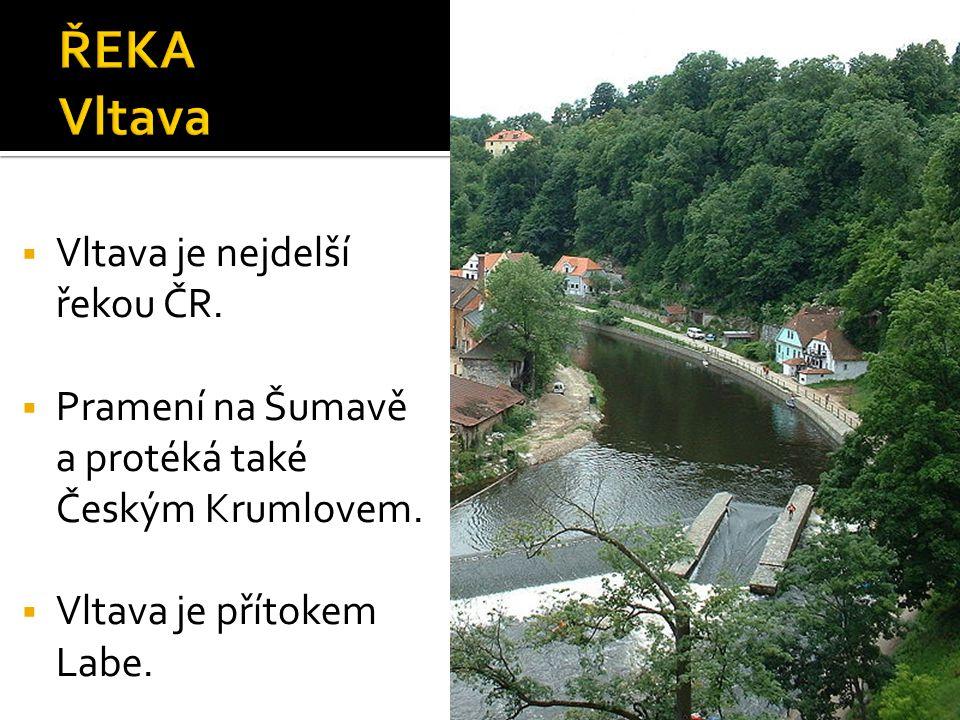  Vltava je nejdelší řekou ČR.  Pramení na Šumavě a protéká také Českým Krumlovem.