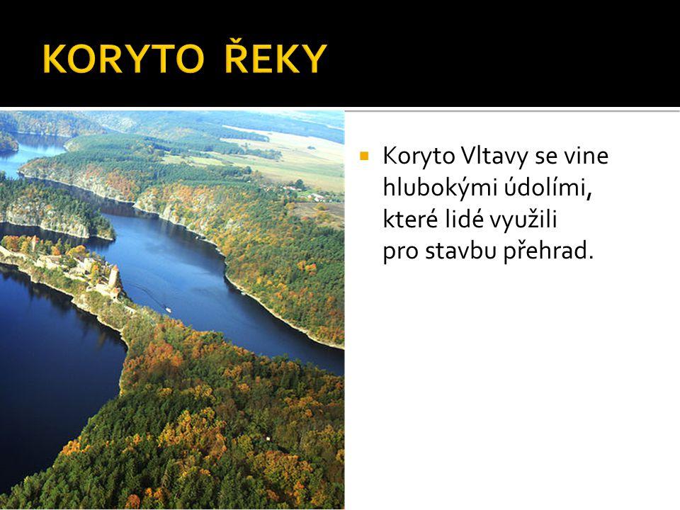  Koryto Vltavy se vine hlubokými údolími, které lidé využili pro stavbu přehrad.