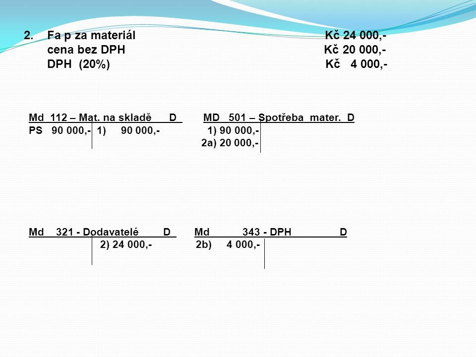 2.Fa p za materiál Kč 24 000,- cena bez DPH Kč 20 000,- DPH (20%) Kč 4 000,- Md 112 – Mat.