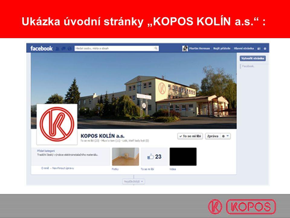 """Ukázka úvodní stránky """"KOPOS KOLÍN a.s."""" :"""
