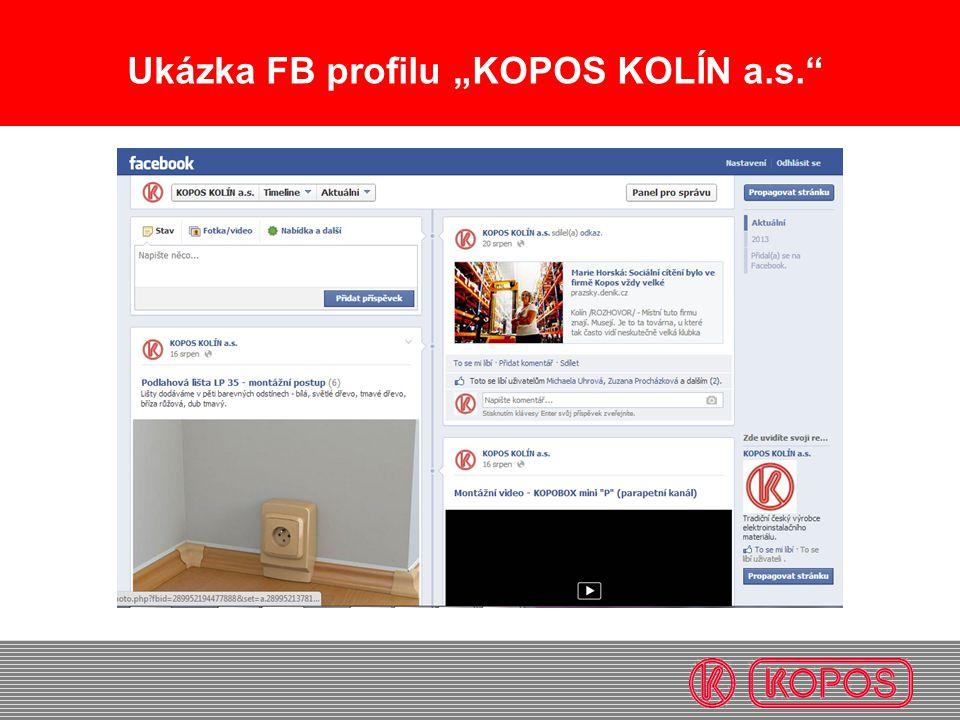 """Ukázka FB profilu """"KOPOS KOLÍN a.s."""""""