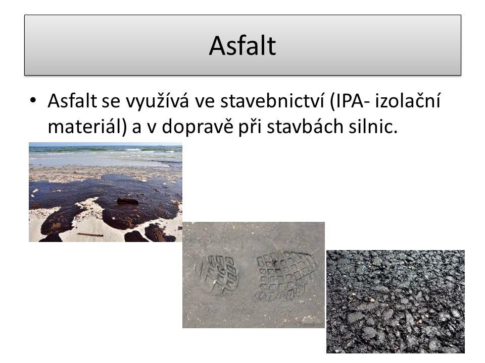Asfalt Asfalt se využívá ve stavebnictví (IPA- izolační materiál) a v dopravě při stavbách silnic.