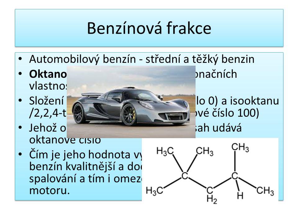 Benzínová frakce Automobilový benzín - střední a těžký benzin Oktanové číslo- je mírou antidetonačních vlastností motorových benzínů Složení z n-hepta