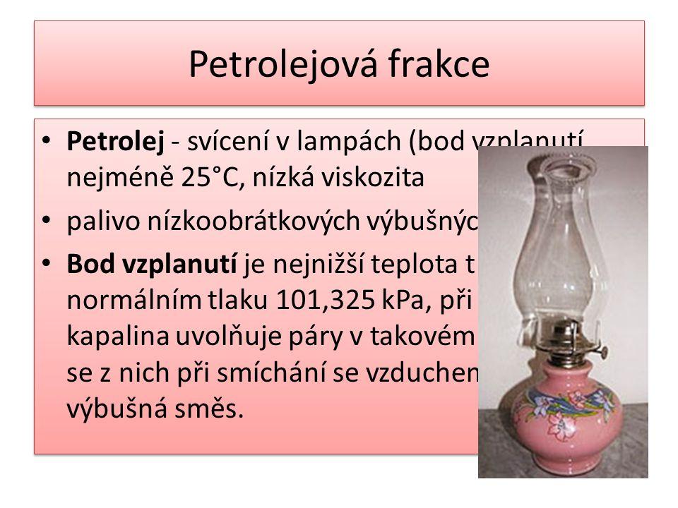 Petrolejová frakce Petrolej - svícení v lampách (bod vzplanutí nejméně 25°C, nízká viskozita palivo nízkoobrátkových výbušných motorů Bod vzplanutí je
