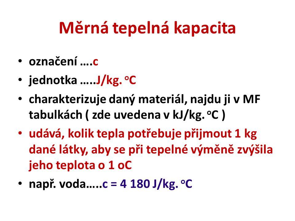 Měrná tepelná kapacita označení ….c jednotka …..J/kg. o C charakterizuje daný materiál, najdu ji v MF tabulkách ( zde uvedena v kJ/kg. o C ) udává, ko