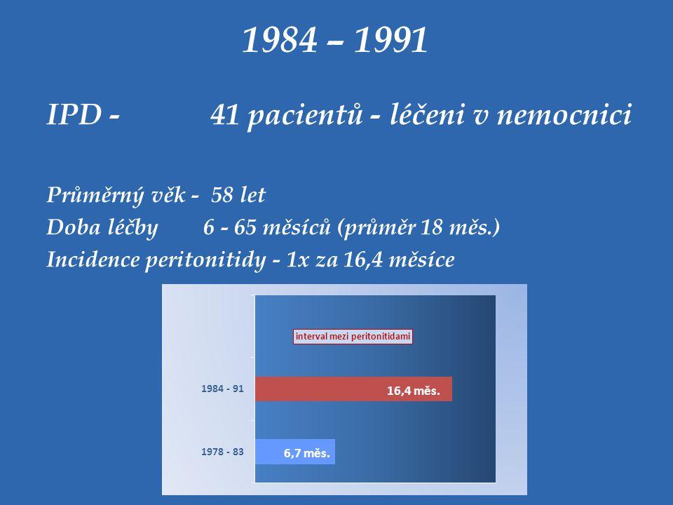 1984 – 1991 IPD - 41 pacientů - léčeni v nemocnici Průměrný věk - 58 let Doba léčby 6 - 65 měsíců (průměr 18 měs.) Incidence peritonitidy - 1x za 16,4