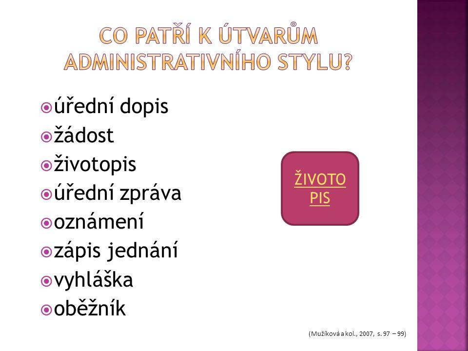  úřední dopis  žádost  životopis  úřední zpráva  oznámení  zápis jednání  vyhláška  oběžník ŽIVOTO PIS (Mužíková a kol., 2007, s. 97 – 99)