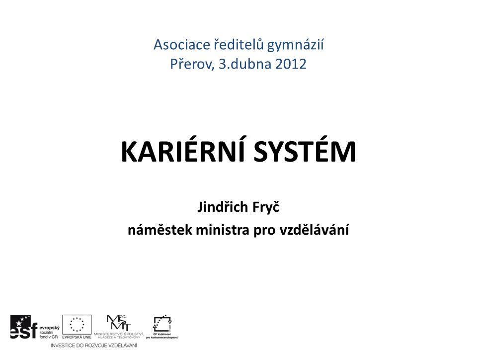 Asociace ředitelů gymnázií Přerov, 3.dubna 2012 KARIÉRNÍ SYSTÉM Jindřich Fryč náměstek ministra pro vzdělávání