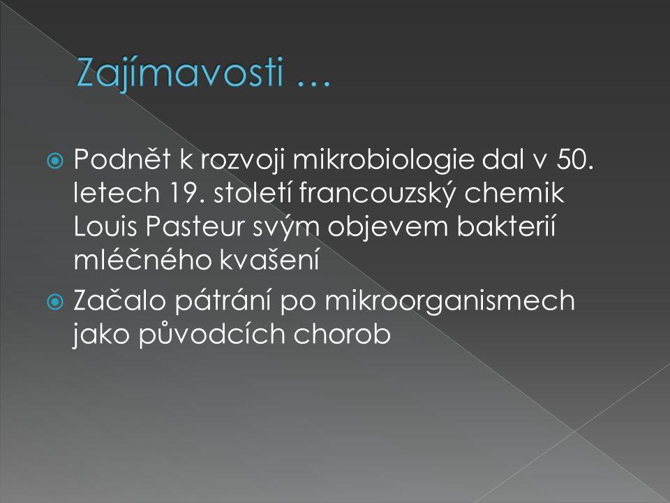  Podnět k rozvoji mikrobiologie dal v 50. letech 19. století francouzský chemik Louis Pasteur svým objevem bakterií mléčného kvašení  Začalo pátrání