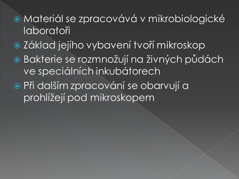  Materiál se zpracovává v mikrobiologické laboratoři  Základ jejího vybavení tvoří mikroskop  Bakterie se rozmnožují na živných půdách ve speciální