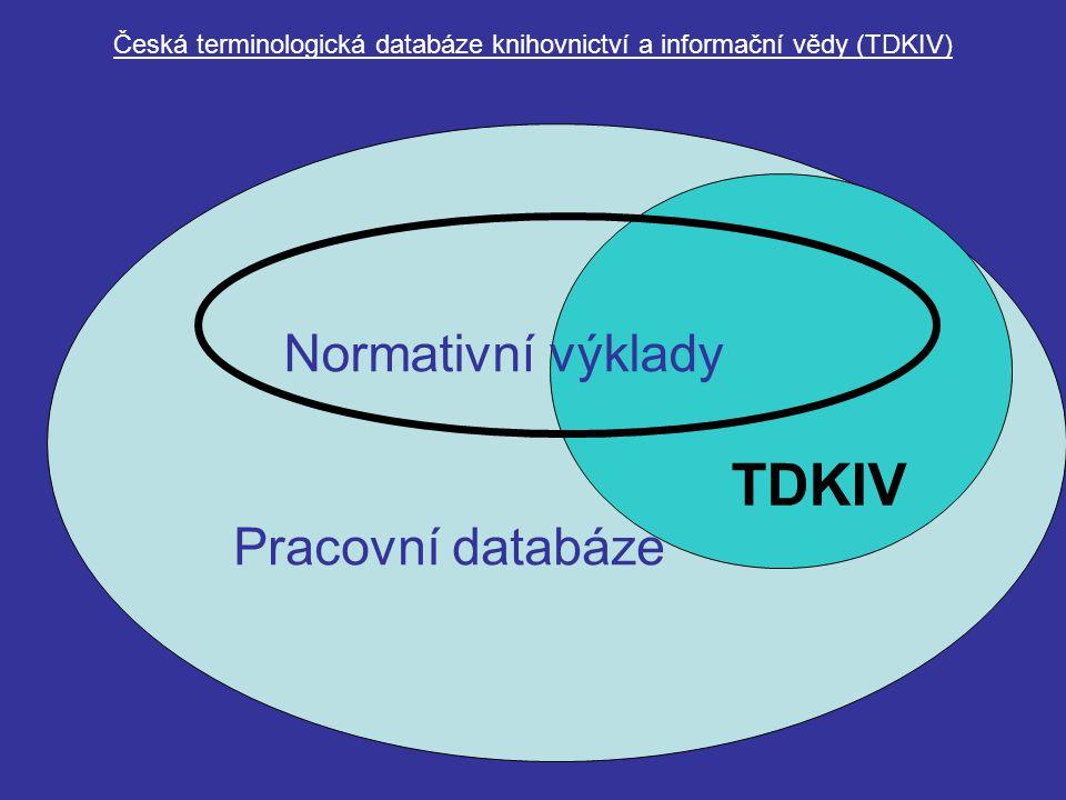 Česká terminologická databáze knihovnictví a informační vědy (TDKIV) Pracovní databáze TDKIV Normativní výklady