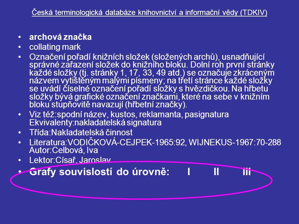 Česká terminologická databáze knihovnictví a informační vědy (TDKIV) archová značka collating mark Označení pořadí knižních složek (složených archů), usnadňující správné zařazení složek do knižního bloku.