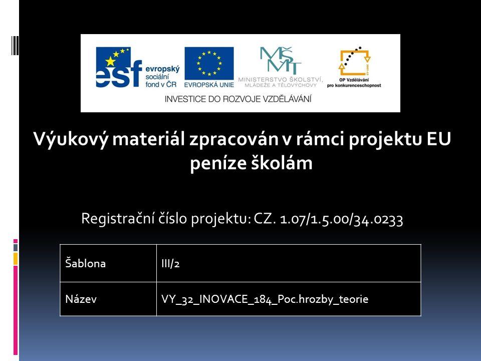 Výukový materiál zpracován v rámci projektu EU peníze školám Registrační číslo projektu: CZ.