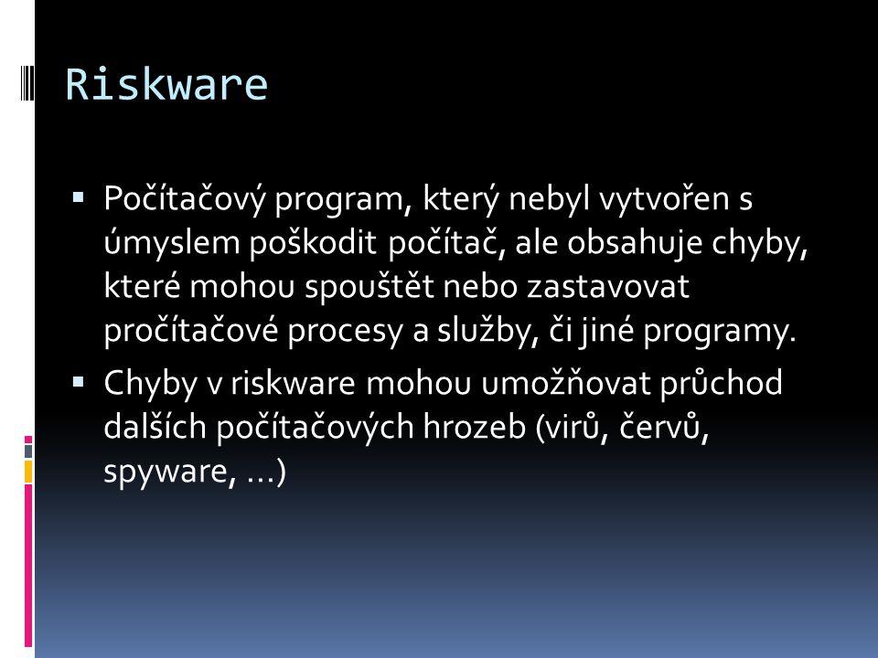 Riskware  Počítačový program, který nebyl vytvořen s úmyslem poškodit počítač, ale obsahuje chyby, které mohou spouštět nebo zastavovat pročítačové procesy a služby, či jiné programy.
