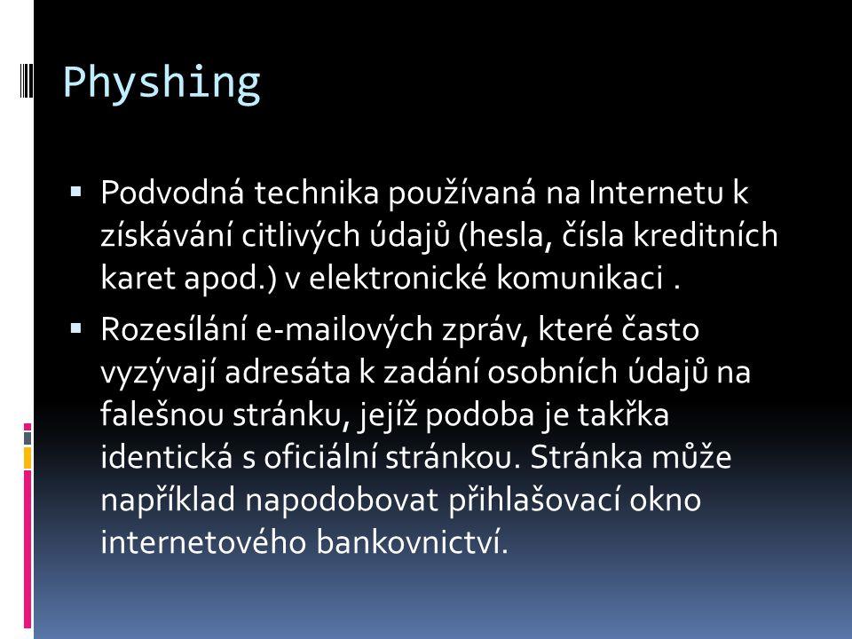 Physhing  Podvodná technika používaná na Internetu k získávání citlivých údajů (hesla, čísla kreditních karet apod.) v elektronické komunikaci.