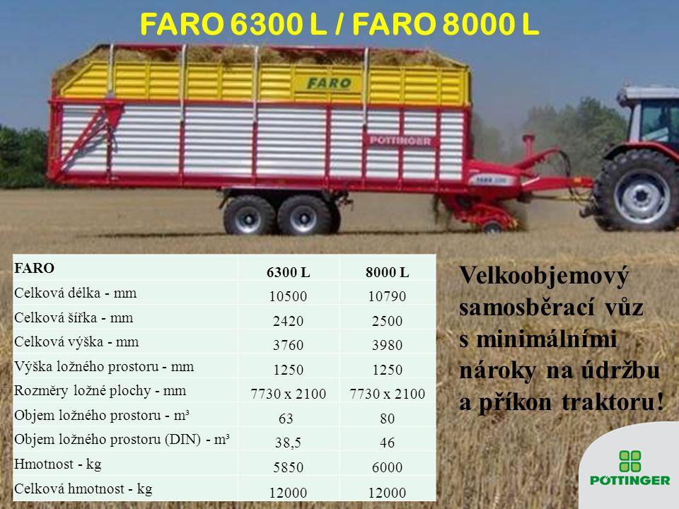 FARO 6300 L8000 L Celková délka - mm 1050010790 Celková šířka - mm 24202500 Celková výška - mm 37603980 Výška ložného prostoru - mm 1250 Rozměry ložné
