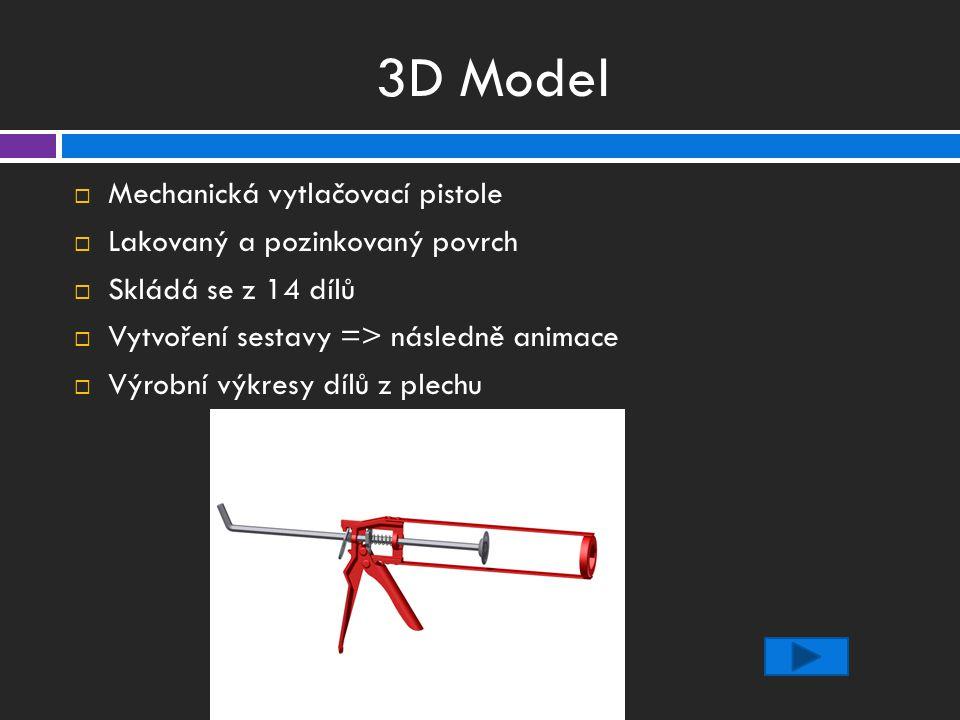 3D Model  Mechanická vytlačovací pistole  Lakovaný a pozinkovaný povrch  Skládá se z 14 dílů  Vytvoření sestavy => následně animace  Výrobní výkresy dílů z plechu
