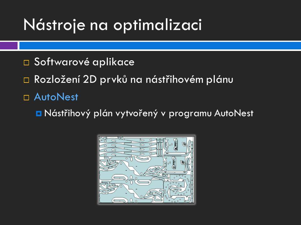Nástroje na optimalizaci  Softwarové aplikace  Rozložení 2D prvků na nástřihovém plánu  AutoNest  Nástřihový plán vytvořený v programu AutoNest