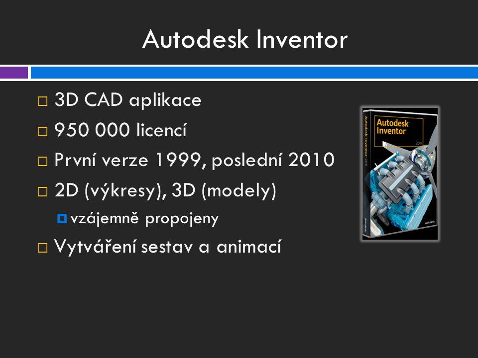 Autodesk Inventor  3D CAD aplikace  950 000 licencí  První verze 1999, poslední 2010  2D (výkresy), 3D (modely)  vzájemně propojeny  Vytváření sestav a animací