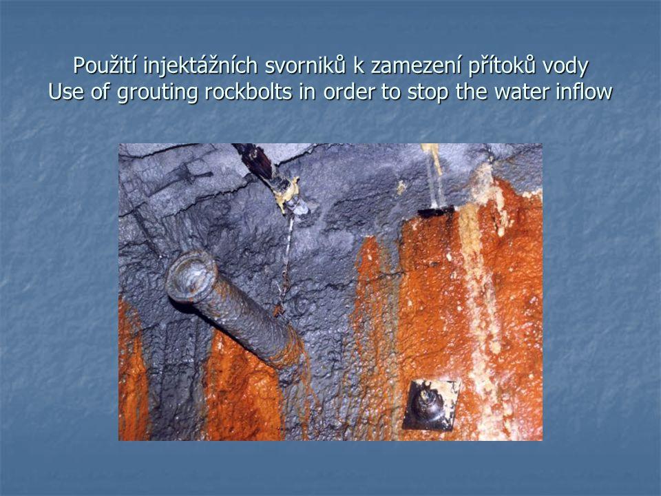 Použití injektážních svorniků k zamezení přítoků vody Use of grouting rockbolts in order to stop the water inflow