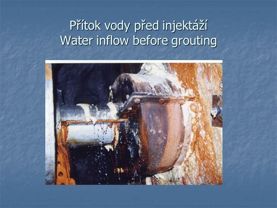 Přítok vody před injektáží Water inflow before grouting