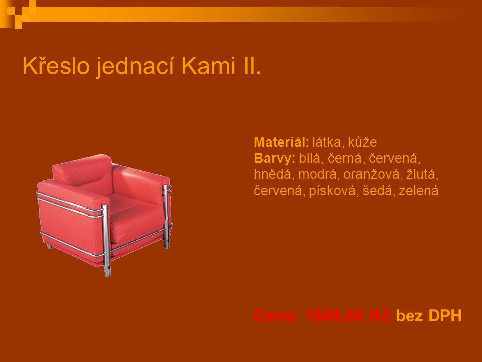Křeslo jednací Kami II. Cena: 1849,00 Kč bez DPH Materiál: látka, kůže Barvy: bílá, černá, červená, hnědá, modrá, oranžová, žlutá, červená, písková, š