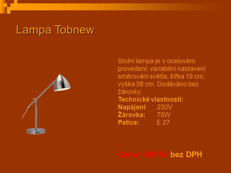 Stolní lampa je v ocelovém provedení; variabilní nastavení směrování světla, šířka 19 cm, výška 58 cm. Dodáváno bez žárovky. Technické vlastnosti: Nap