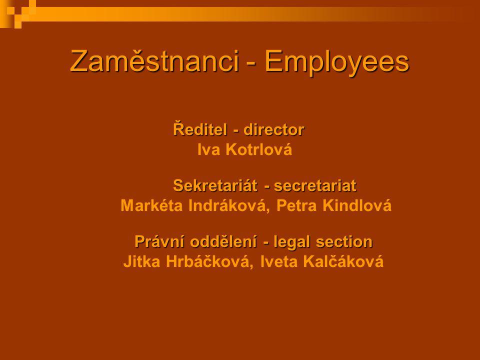 Zaměstnanci - Employees Ředitel - director Iva Kotrlová Sekretariát - secretariat Markéta Indráková, Petra Kindlová Právní oddělení - legal section Ji
