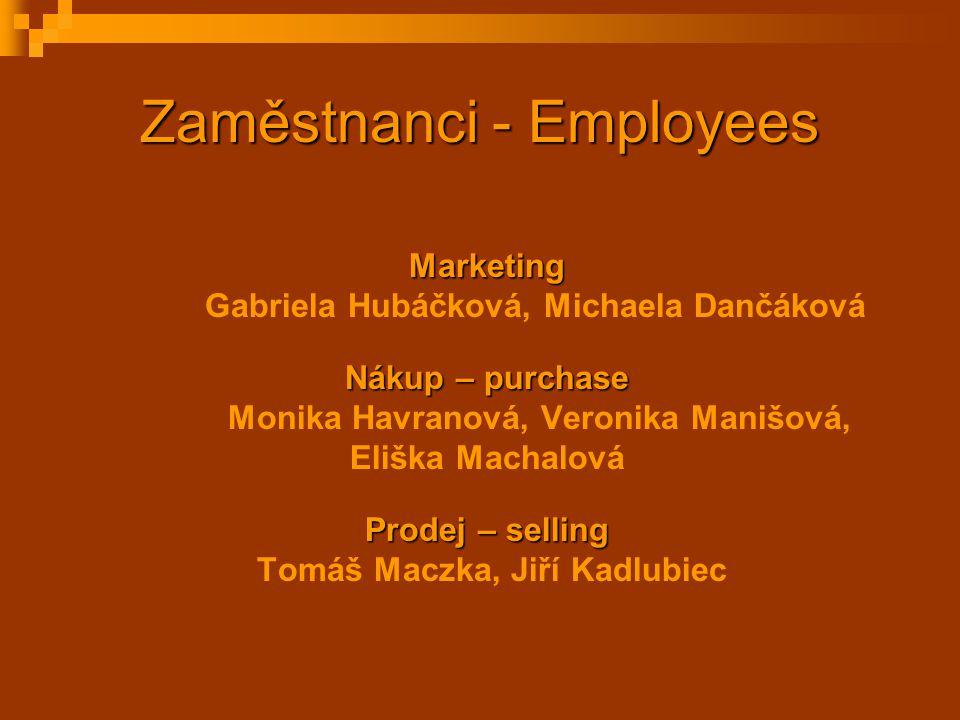Marketing Gabriela Hubáčková, Michaela Dančáková Nákup – purchase Monika Havranová, Veronika Manišová, Eliška Machalová Prodej – selling Tomáš Maczka,