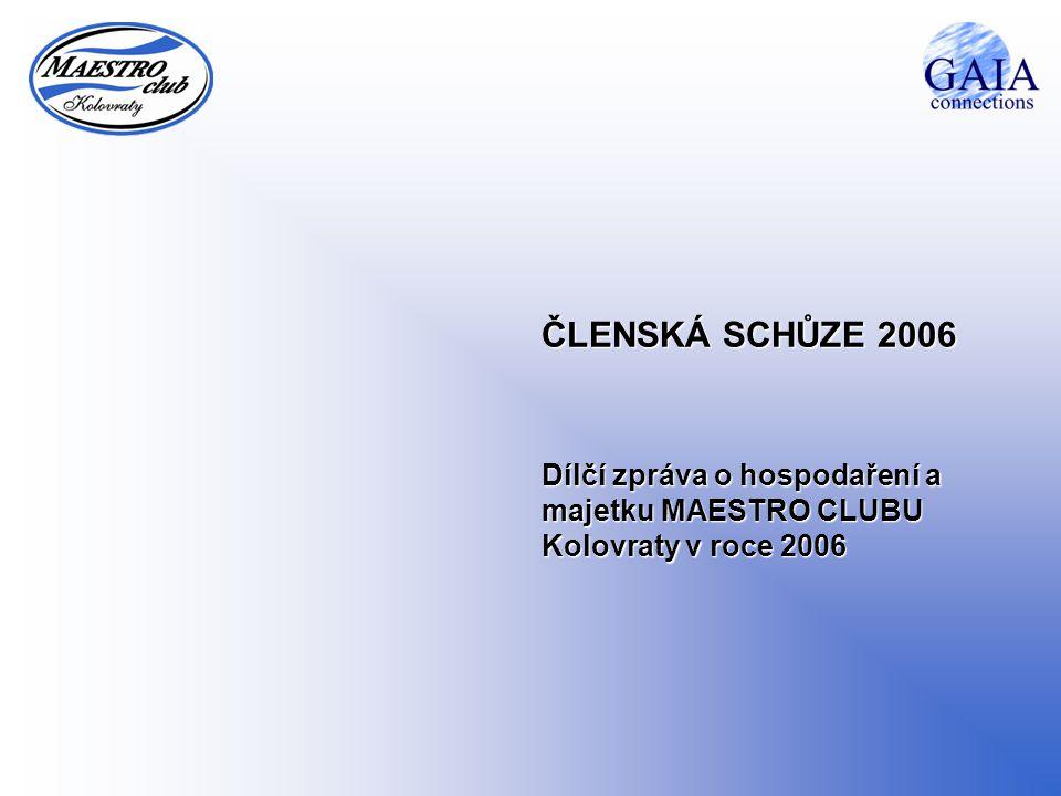 ČLENSKÁ SCHŮZE 2006 Dílčí zpráva o hospodaření a majetku MAESTRO CLUBU Kolovraty v roce 2006