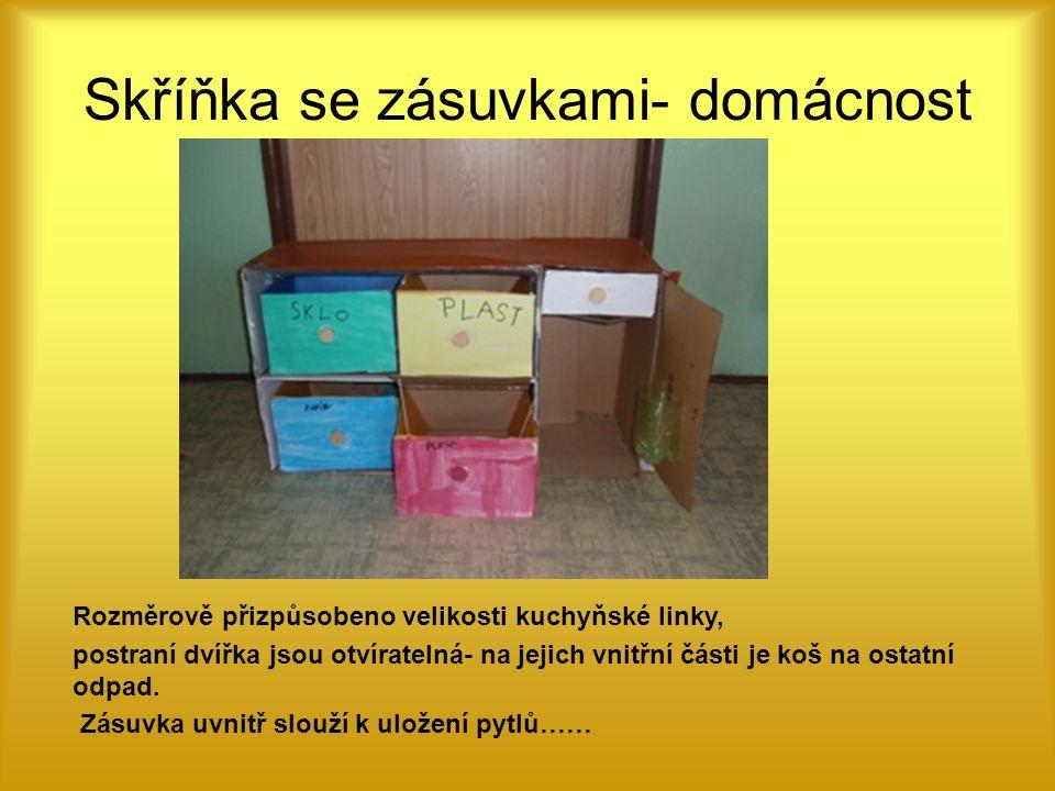 Skříňka se zásuvkami- domácnost Rozměrově přizpůsobeno velikosti kuchyňské linky, postraní dvířka jsou otvíratelná- na jejich vnitřní části je koš na ostatní odpad.