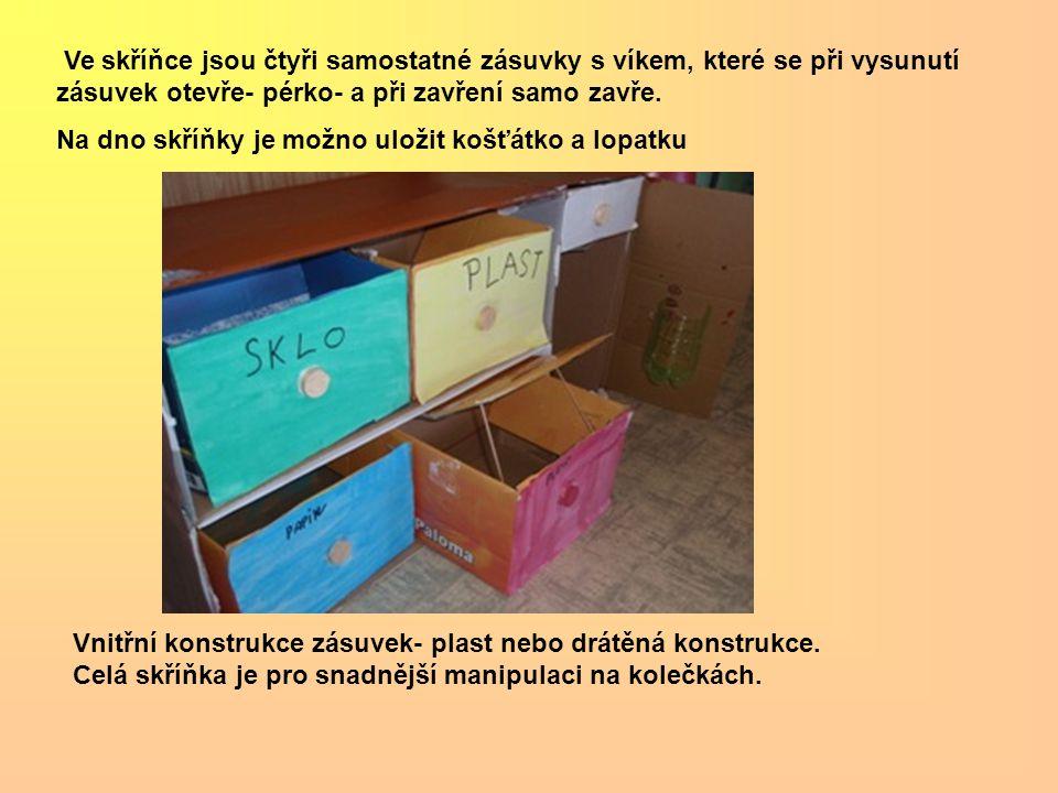 Ve skříňce jsou čtyři samostatné zásuvky s víkem, které se při vysunutí zásuvek otevře- pérko- a při zavření samo zavře.