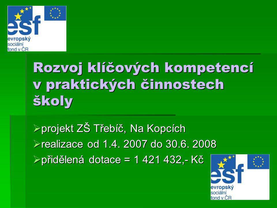 Rozvoj klíčových kompetencí v praktických činnostech školy  projekt ZŠ Třebíč, Na Kopcích  realizace od 1.4. 2007 do 30.6. 2008  přidělená dotace =