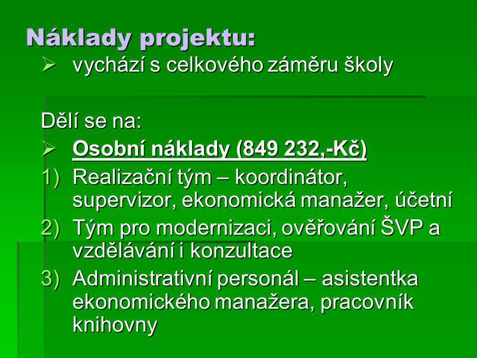 Náklady projektu:  vychází s celkového záměru školy Dělí se na:  Osobní náklady (849 232,-Kč) 1)Realizační tým – koordinátor, supervizor, ekonomická manažer, účetní 2)Tým pro modernizaci, ověřování ŠVP a vzdělávání i konzultace 3)Administrativní personál – asistentka ekonomického manažera, pracovník knihovny