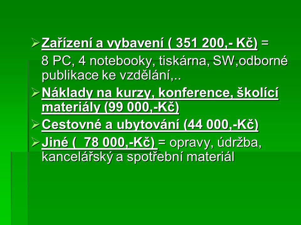  Zařízení a vybavení ( 351 200,- Kč) = 8 PC, 4 notebooky, tiskárna, SW,odborné publikace ke vzdělání,..