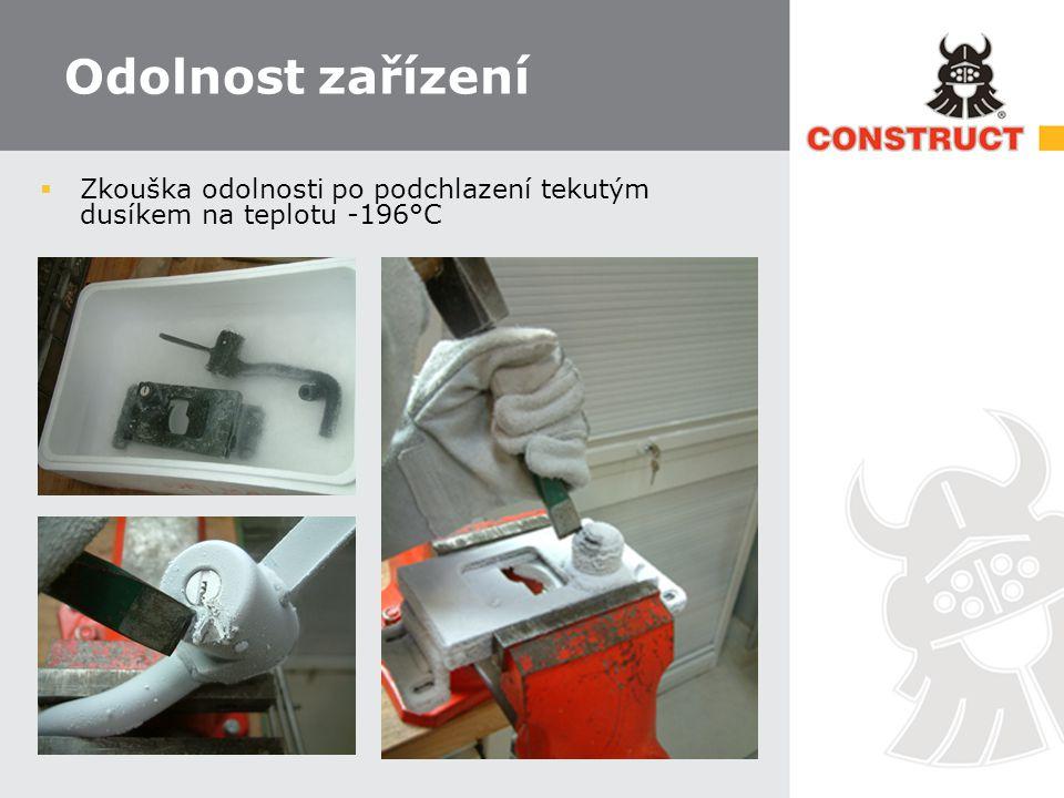 Odolnost zařízení  Zkouška odolnosti po podchlazení tekutým dusíkem na teplotu -196°C
