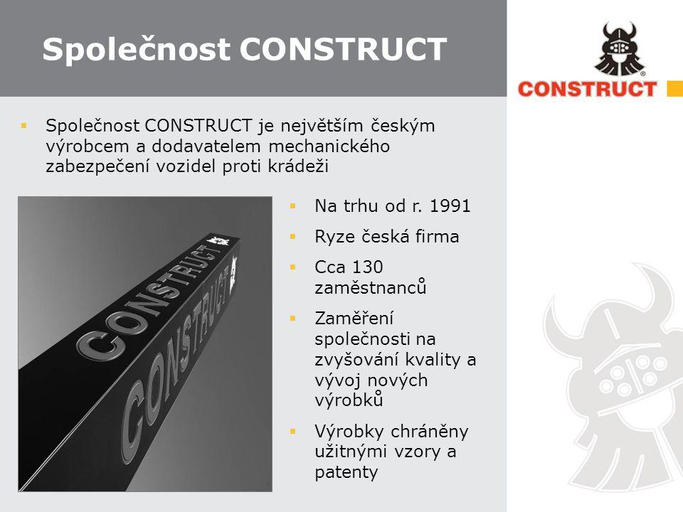 Společnost CONSTRUCT  Společnost CONSTRUCT je největším českým výrobcem a dodavatelem mechanického zabezpečení vozidel proti krádeži  Na trhu od r.