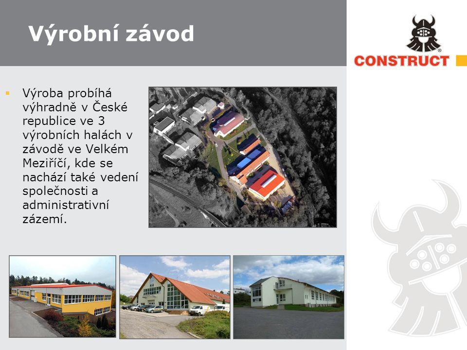 Výrobní závod  Výroba probíhá výhradně v České republice ve 3 výrobních halách v závodě ve Velkém Meziříčí, kde se nachází také vedení společnosti a administrativní zázemí.