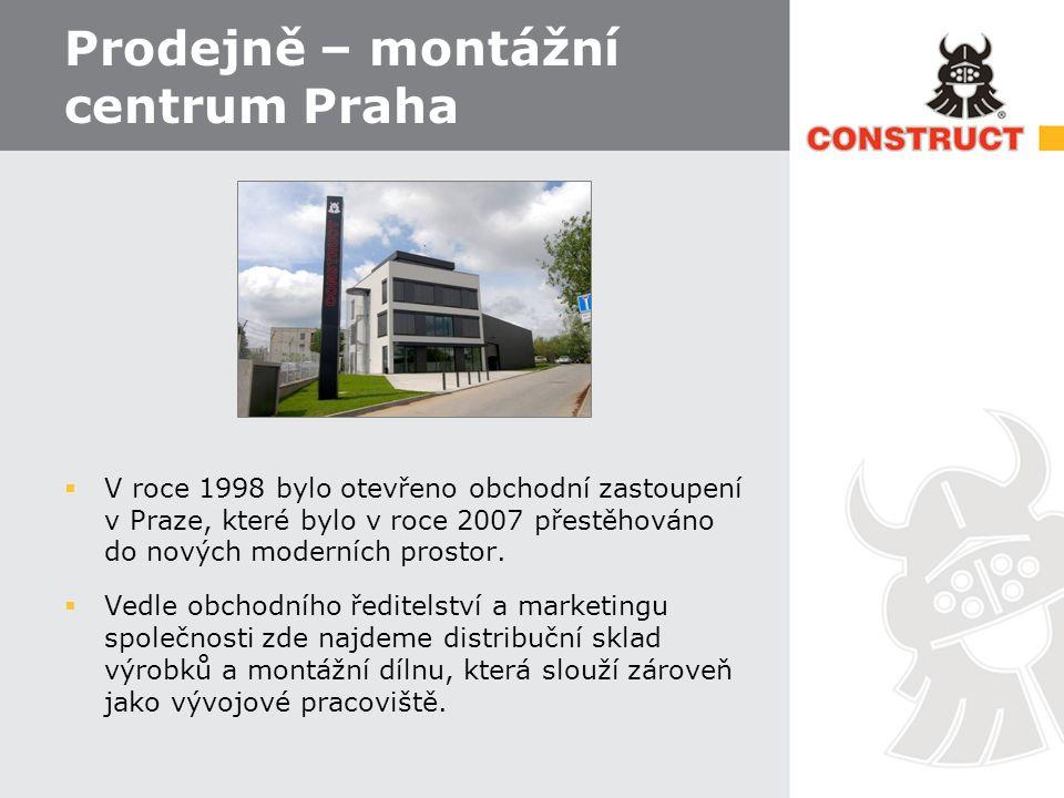 Prodejně – montážní centrum Praha  V roce 1998 bylo otevřeno obchodní zastoupení v Praze, které bylo v roce 2007 přestěhováno do nových moderních prostor.
