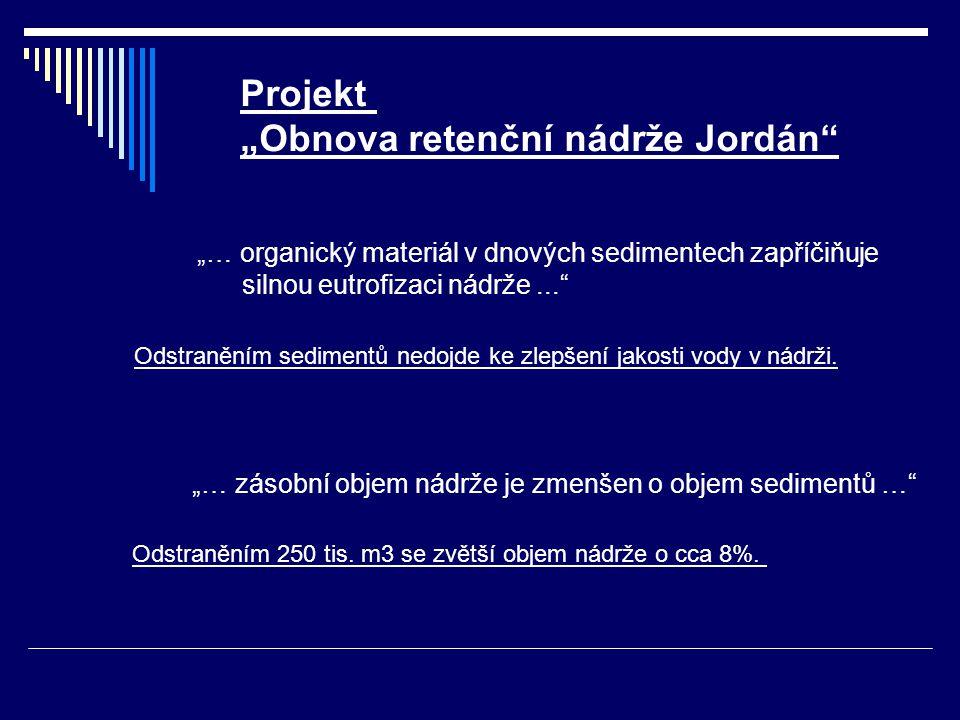 """Pitná voda 2003 Projekt """"Obnova retenční nádrže Jordán """"… organický materiál v dnových sedimentech zapříčiňuje silnou eutrofizaci nádrže... Odstraněním sedimentů nedojde ke zlepšení jakosti vody v nádrži."""