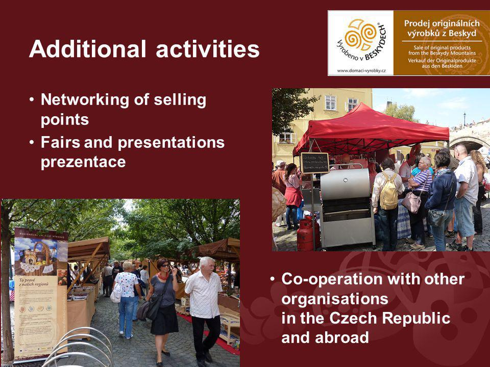 Additional activities Networking of selling points Fairs and presentations prezentace Co-operation with other organisations in the Czech Republic and abroad