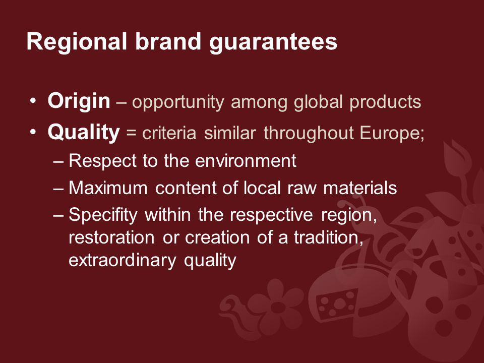 Regional brand guarantees Origin – opportunity among global products Quality = criteria similar throughout Europe; –Respect to the environment –Maximum content of local raw materials –Specifity within the respective region, restoration or creation of a tradition, extraordinary quality