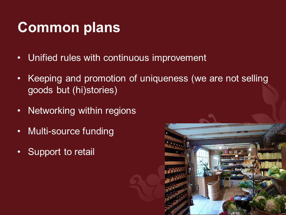 Common plans Unified rules with continuous improvement Keeping and promotion of uniqueness (we are not selling goods but (hi)stories) Networking within regions Multi-source funding Support to retail