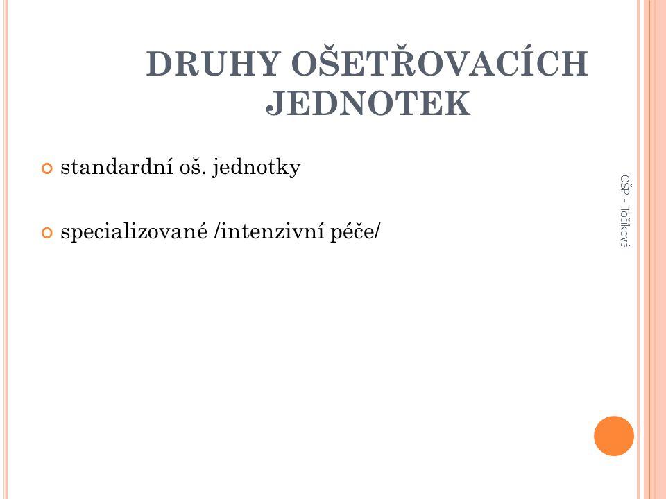 DRUHY OŠETŘOVACÍCH JEDNOTEK standardní oš. jednotky specializované /intenzivní péče/ OŠP - Točíková