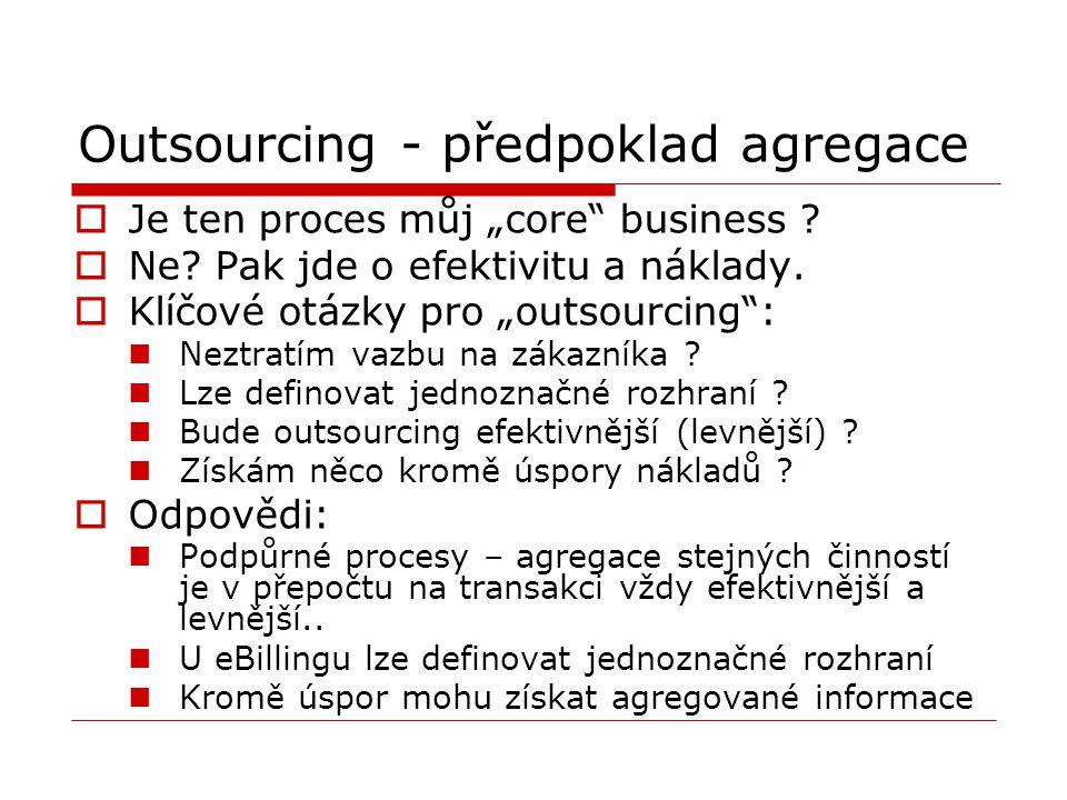 """Outsourcing - předpoklad agregace  Je ten proces můj """"core"""" business ?  Ne? Pak jde o efektivitu a náklady.  Klíčové otázky pro """"outsourcing"""": Nezt"""